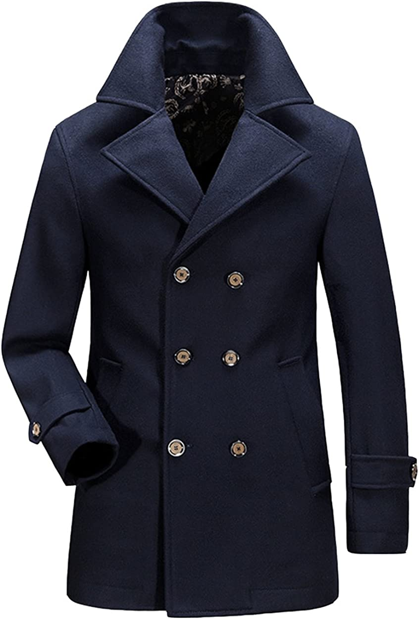 Wintie Mens Fashion Double-Breasted Wool-Blend Peacoats Trench Overcoats