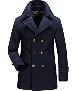 c350687d9c59 Wintie Men s Fashion Double-Breasted Wool-Blend Peacoats Trench Overcoats