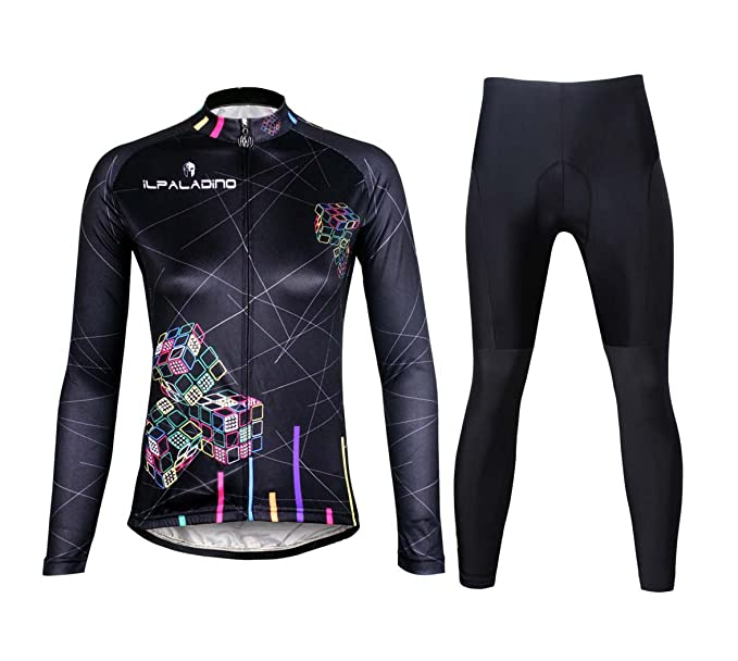 ILPALADINO Women s Cycling Jersey Clothing Set Long Sleeve Pant Magic Cube  Black ... aada565f8