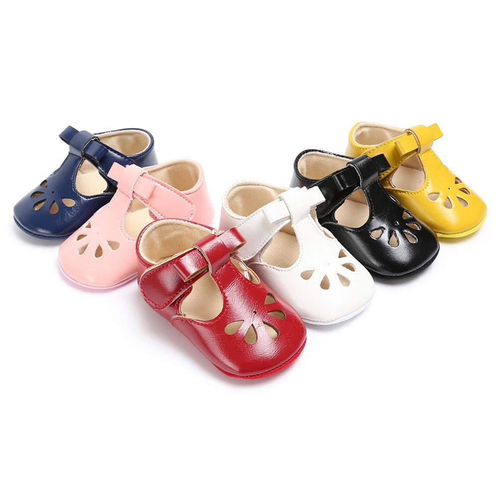 Isbasic Baby Girls Mary Janes Flat Toddler Prewalker Soft Sole Anti-Slip Princess Baptism Crib Shoes