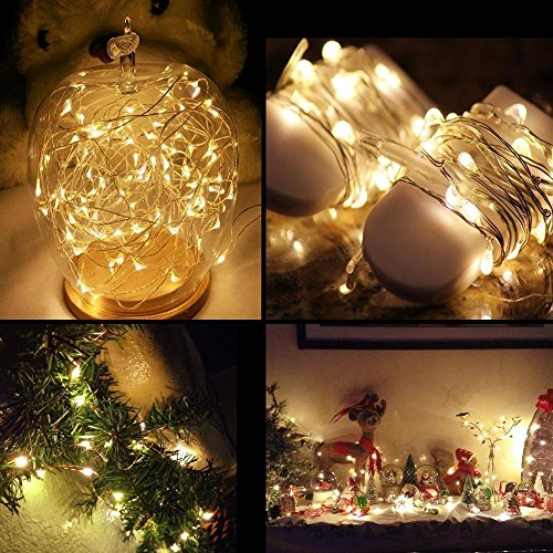 Ouniman 6 Pcs Starry String Lights, LEDs Fairy Lights Silver Coated Copper Wire, Battery Powered for Christmas Tree DIY Wedding Bedroom Easter Decor - Yellow by Ouniman (Image #4)