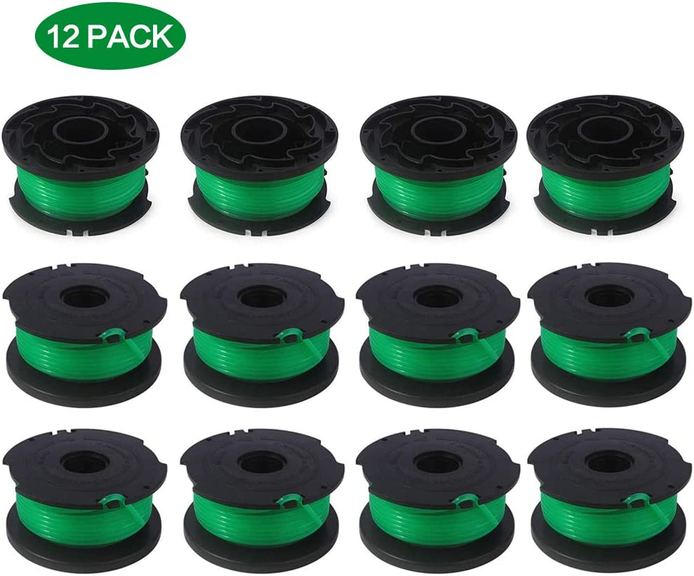 """12 Pack 20ft 0.080"""" SF-080 String Trimmer Spool Replacement for Black and Decker GH3000 LST540 GH3000R LST540B"""