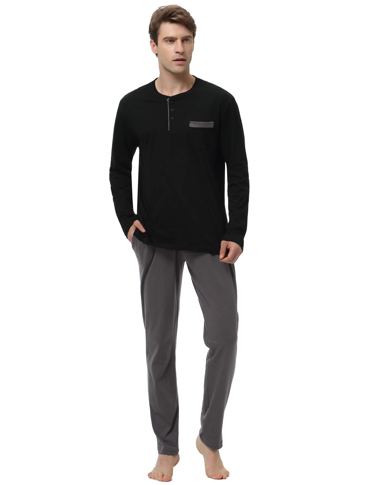 Hawiton Men's Long Sleeve Pajama Pants Set Cotton Sleep Top & Bottoms