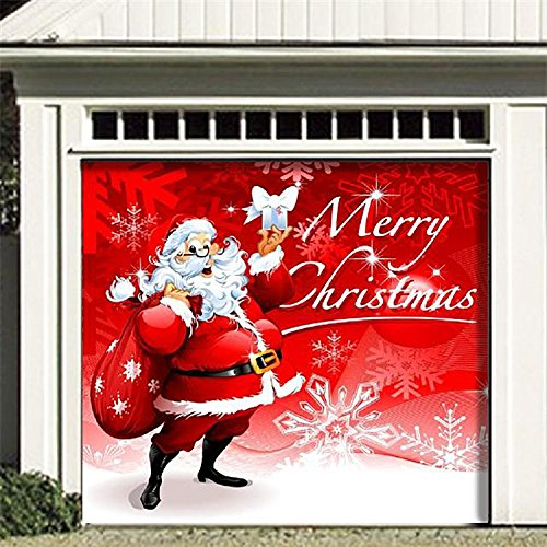Outdoor Christmas Holiday Garage Door Banner Cover Mural Décoration - Santa's Merry Christmas Holiday Garage Door Banner Décor Sign 7'x8' (Halloween Decorations For Garage Door)