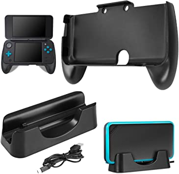 AFUNTA Base de Carga para New Nintendo 2DS XL con Hand Grip, Estación de Carga Cradle Stand Soporte con Cable Mini USB y Mango de Plástico para 2017 Nintendo 2DS LL -Negro: