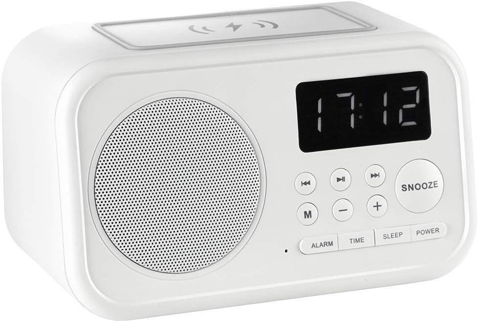 Vieta Pro Wake - Despertador altavoz (Bluetooth, radio FM, carga inductiva, entrada auxiliar, reproductor USB, micrófono integrado, 2 entradas de carga USB) blanco