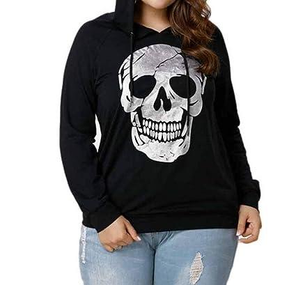Hoodies & Sweatshirts Plus Size Long Sleeve Skull Print Zipper Sportswear Hot Sale Hoodies For Women Hooded Blouse Pullover Tops Shirt Clothes