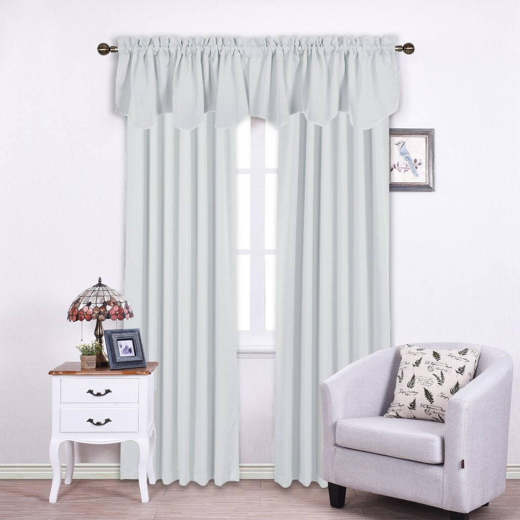 NICETOWN Room Darkening Scalloped Valances - 52-inch by 18-inch Rod Pocket Draperies Curtains for Bedroom, Platinum