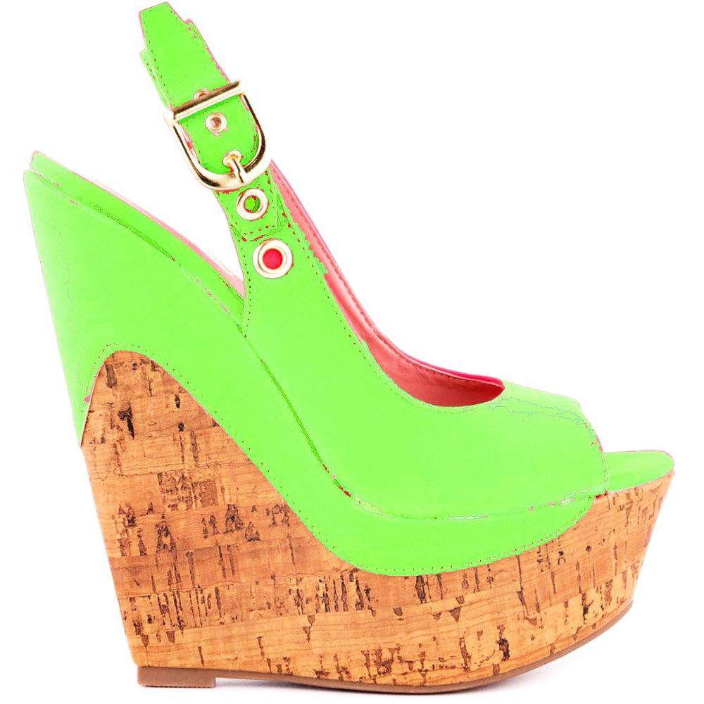 Shoe Republic LA Glacier Cork Wedge Sandals B079J696RH 8 B(M) US|Neon Green