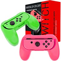 Orzly Grips Compatible with Nintendo Switch Joy-Cons for Extra Comfort - Twin Pack (1x Pink & 1x Green) Universal Sided Grip Attachments for use with Nintendo Switch Joy-Cons