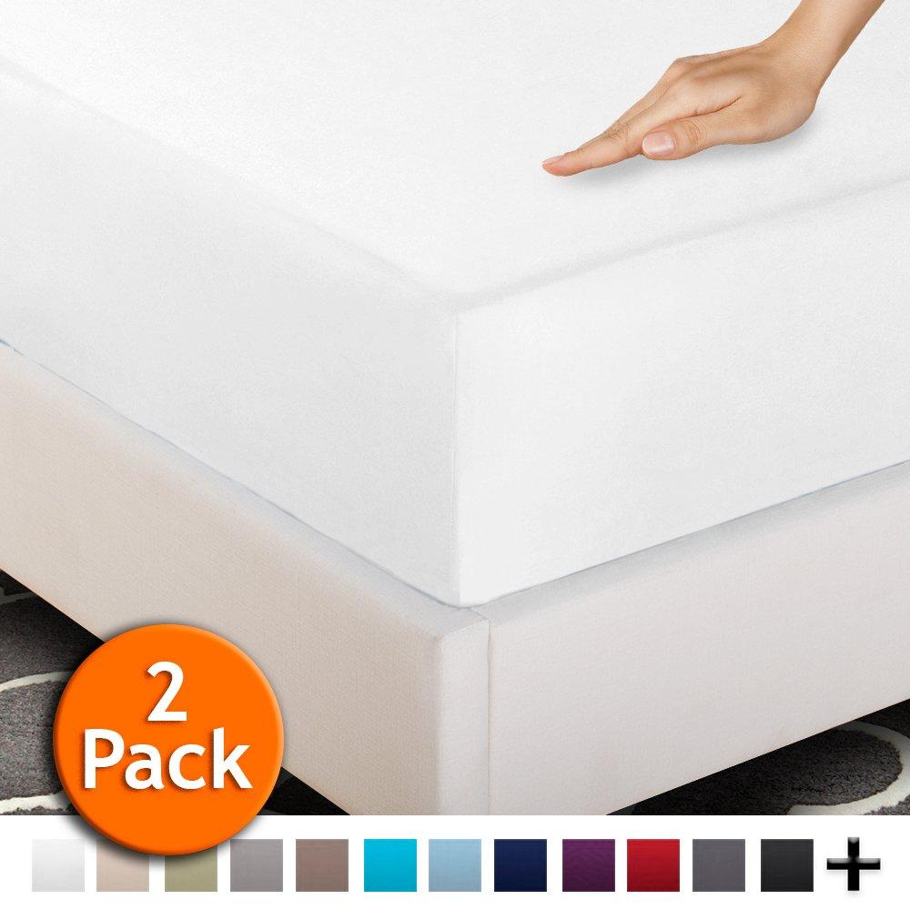 Ivy Union 4 Split Queen Fitted Premium Ultra-Soft Bed Sheets (2-Pack) - Hypoallergenic, Split Queen, 15'' Deep Pocket, 30'' x 80'' (Split Queen, White)