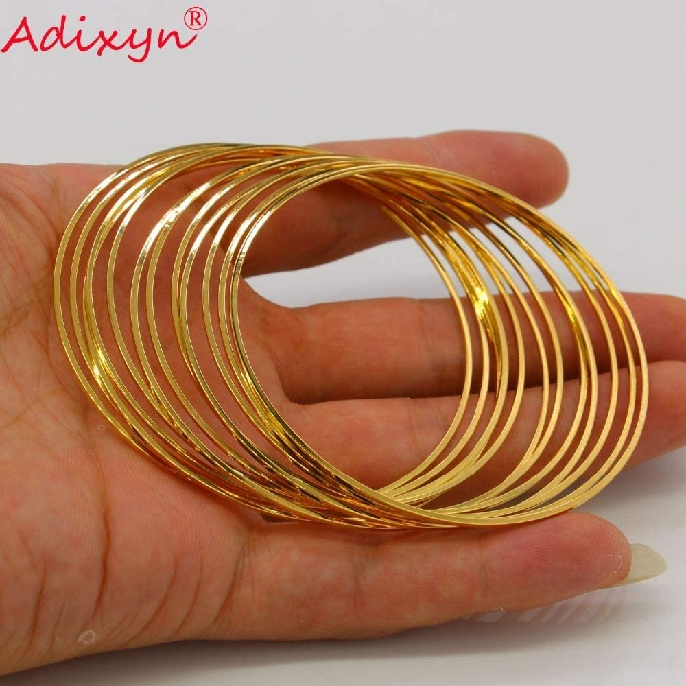 Gold,65 mm moahhally Adixyn Total 12PCS Dubai Fine Bangle for Women//Girls 18k Gold Plated Jewelry Ethiopian African Bracelet Arab Gifts N072404