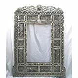 W28M Gorgeous Mosaic Large Mother of Pearl Inlaid Wood Mirror Frame
