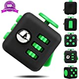 EpochAir Fidget Cube Relieves Stress And Anxiety for Children and Adults Anxiety Attention Toy Matte Black and Green