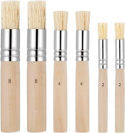 3 Dimensioni Pennelli per Stencil Naturali per Pittura Acrilica LUTER 6 Pezzi di Pennelli per Stencil in Legno Progetto di Artigianato Artistico Fai-da-Te Pittura a Olio Pittura ad Acquerello
