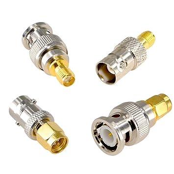 Conector de cable coaxial SMA a BNC 4 unidades macho a macho ...