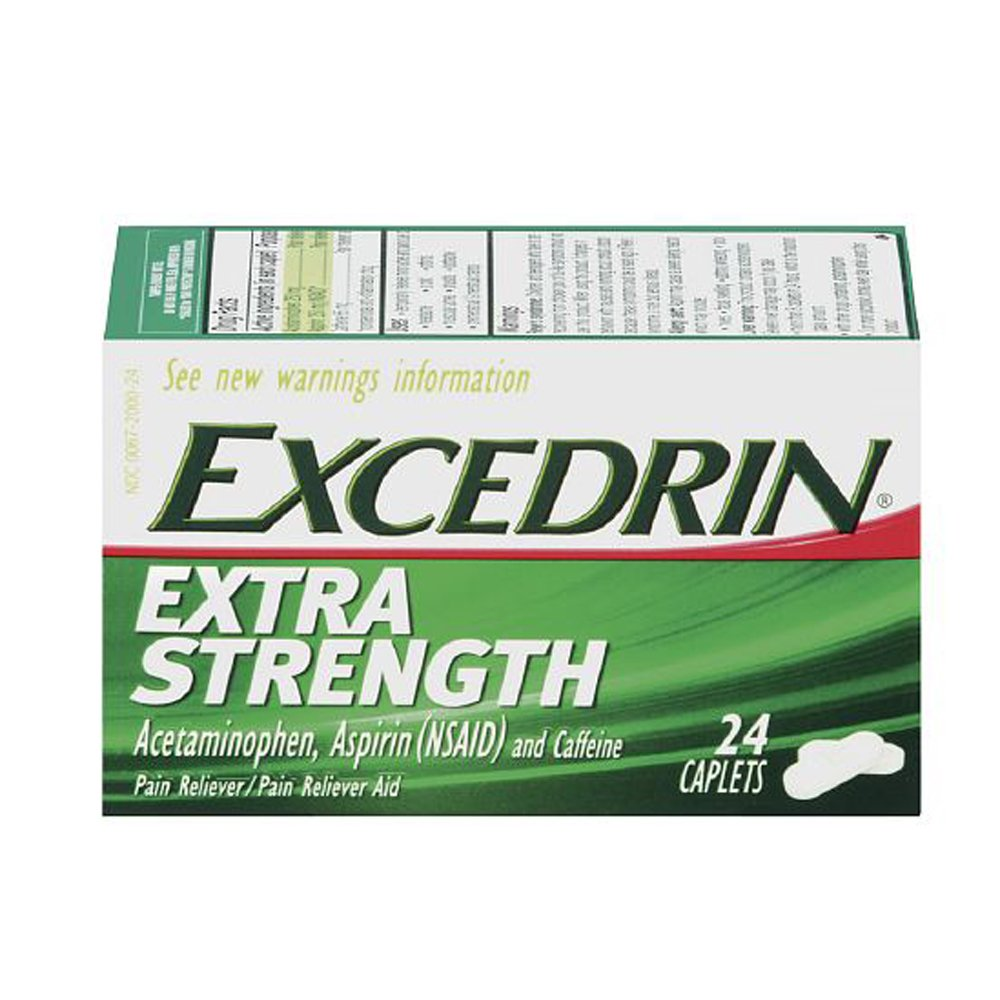 Excedrin Pain Relief Caplets, Extra Strength 24 Ea (Pack of 3)