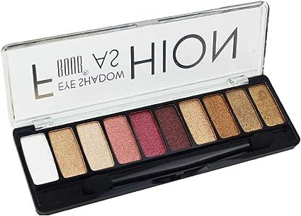 Paleta de sombras de ojos - 10 color Paleta de ojos profesional - Altamente pigmentado para Mate Naked Natural Nude Metallic o Smokey Maquillaje de Ojo: Amazon.es: Belleza
