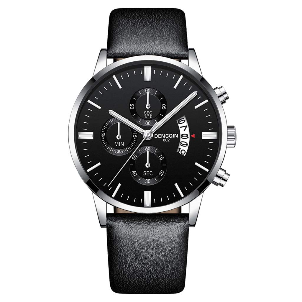 Staron  Luxury Men's Quartz Sport Military Stainless Steel Dial Wrist Watch - Top Leather Watch Band - 43mm Chronograph Date Watch - Battery Quartz Movement (F)