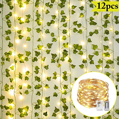 Mrinb 2m Artificial Leaf Vine String Lights Battery Powered Wreath Garland Holiday Fairy Lighting String Christmas Party Wedding Home Garden Decor Colorful Leaf Room Decor Room Decor Toys Games