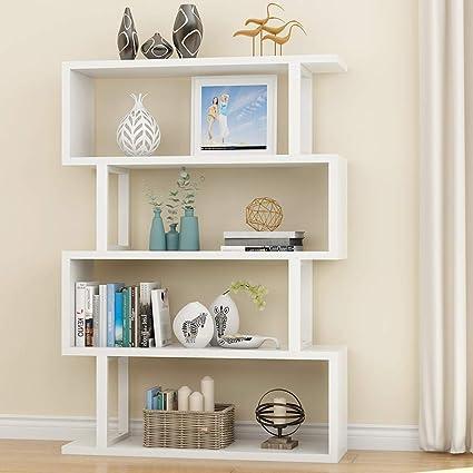 Tribesigns 4 Shelf Bookshelf Modern Bookcase Display Shelf Storage  Organizer for Living Room, Home Office, Bedroom (White)