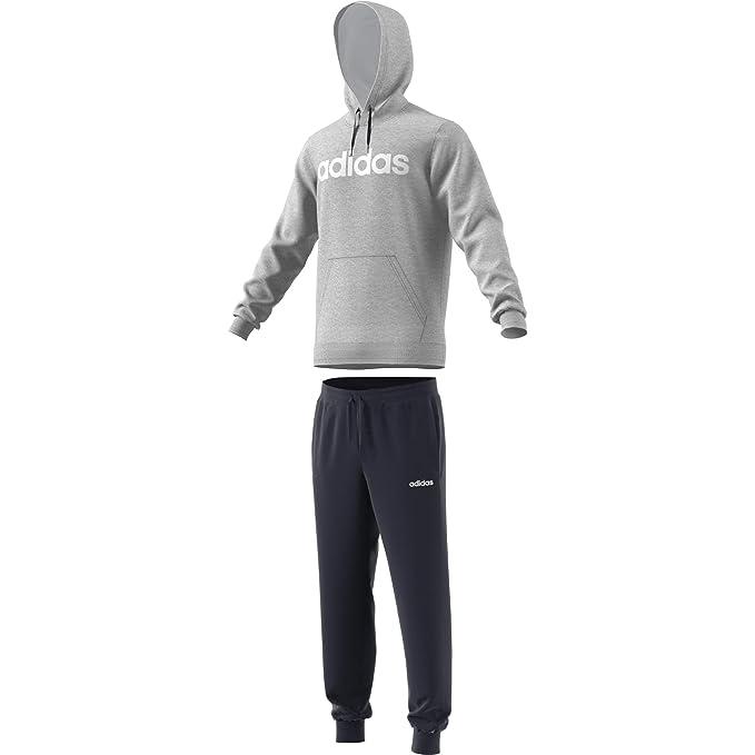 11ff8e5a3969 adidas Hooded Tracksuit Cotton, Tuta Uomo, Medium Grey Heather/Legend  Ink/Bianco