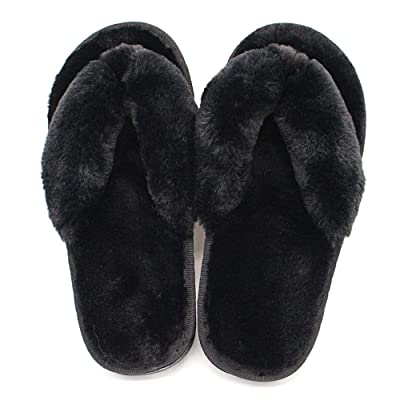 Women's House Slippers, Flip Flops for Women/Girls, Dressy Sandals Fuzzy with Decor Comfy Fluffy Plush Open Toed Memory Foam Stylish Non/Anti Slip Beach Home Outdoor(Black/Grey) | Slippers