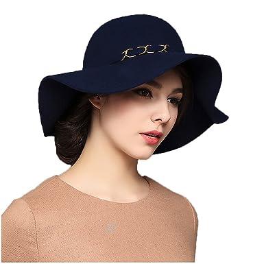 Maitose Trade  Women s Wide Brim Wool Felt Cap Dark Blue at Amazon Women s  Clothing store  3d5d4a4cc60e