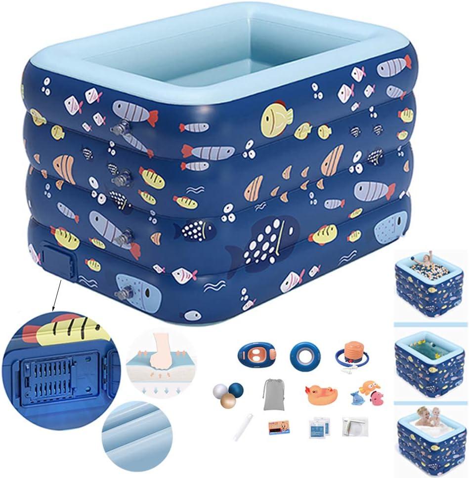 GonbObcxggr Piscina Infantil Hinchable con Un Clic Swimming Pool Desmontables Rectangulares para Adolescentes Familiar Swim Center,1.4m Blue,D