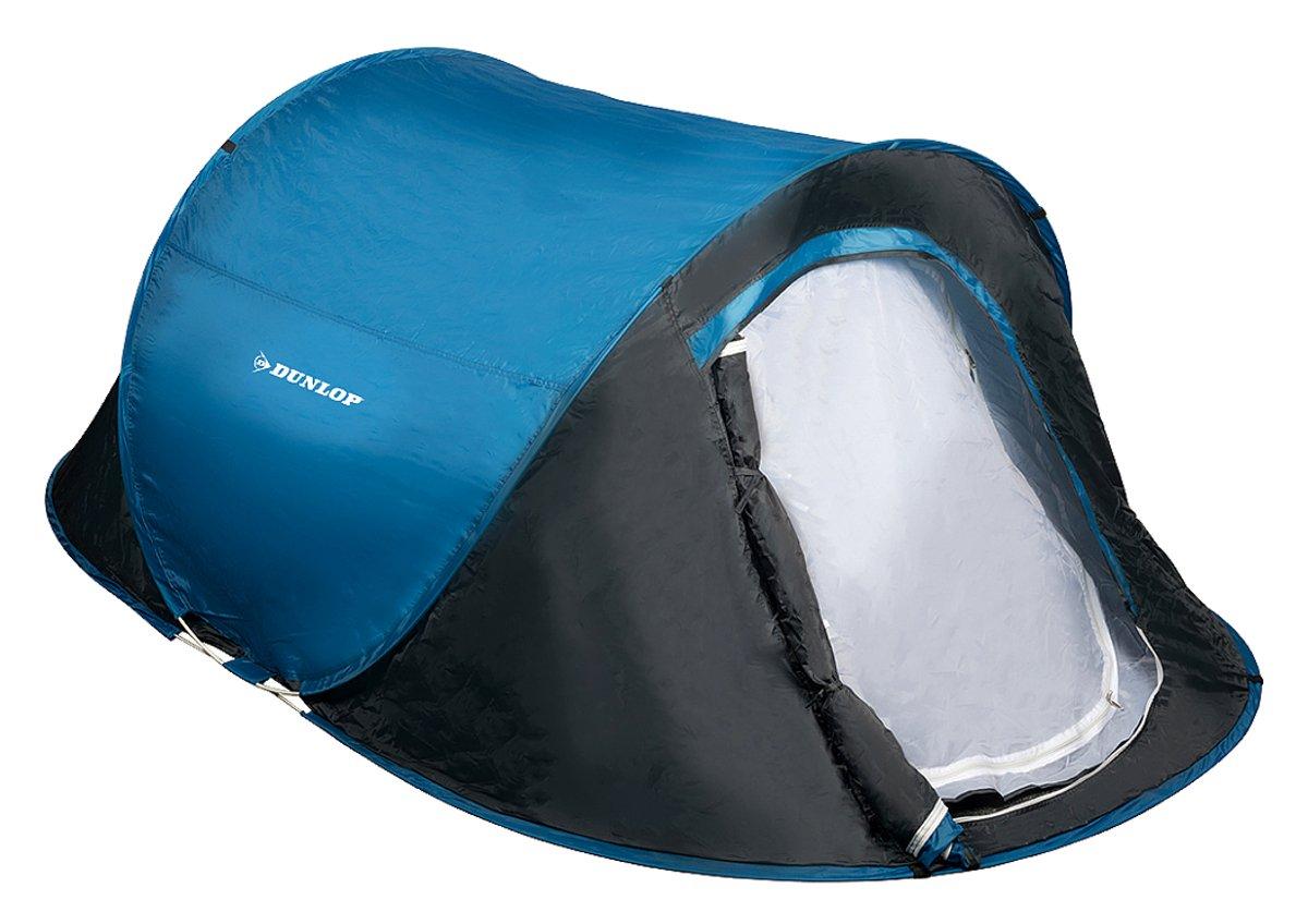 Pop-Up Camping Zelt von Dunlop für 2 Personen, doppelwandig, selbstaufbauend, Moskitoschutz, Wassersäule 400 mm, blau