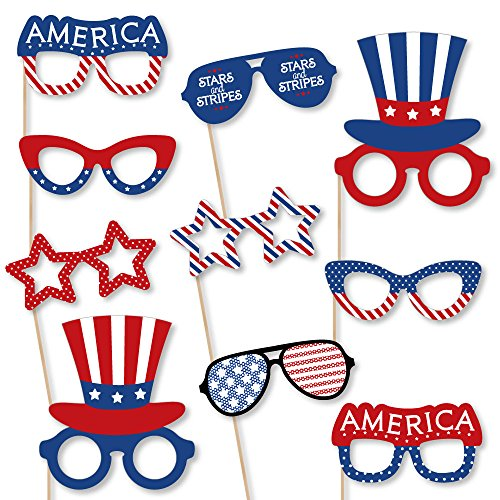 Big Dot of Happiness Patriotic Glasses - Paper Card Stock Labor Day USA Patriotic Party Photo Booth Props Kit - 10 Count