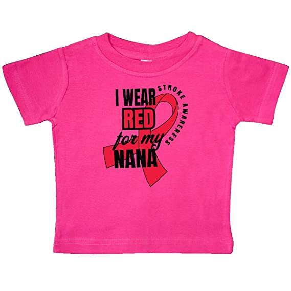 inktastic I Wear Red for My Nana Stroke Awareness Baby T-Shirt