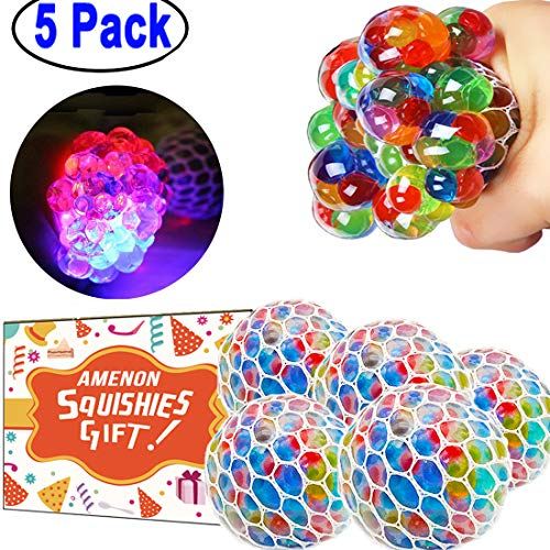 5 Pack Stress Mesh Ball LED Light Up Squeeze Grape Stress Relief Fidget Toy for Adults Kids Anxiety Squeezing Colourful 2.5 Hand Wrist Stress Balls with Orbies Net Holiday Toys