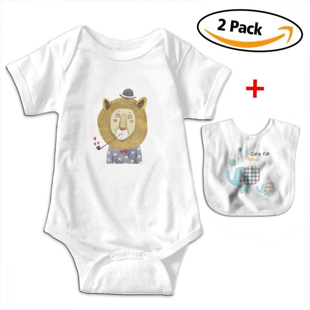 Lion Baby Bodysuits Funny Short Sleeve