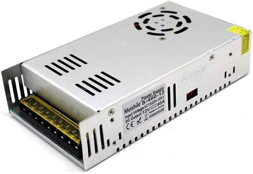 MEISHILE DC 12V 40A 480W Fuente Alimentacion Transformador Interruptor 110/220V AC to DC 12V 480 Watt Fuente de Alimentación Conmutada Convertidor De Voltaje