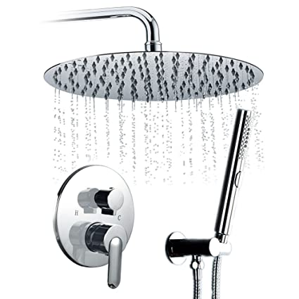 STARBATH SS02Y Rain Shower Set With Large 12u0026quot; Shower Head And Arm, 3  Set