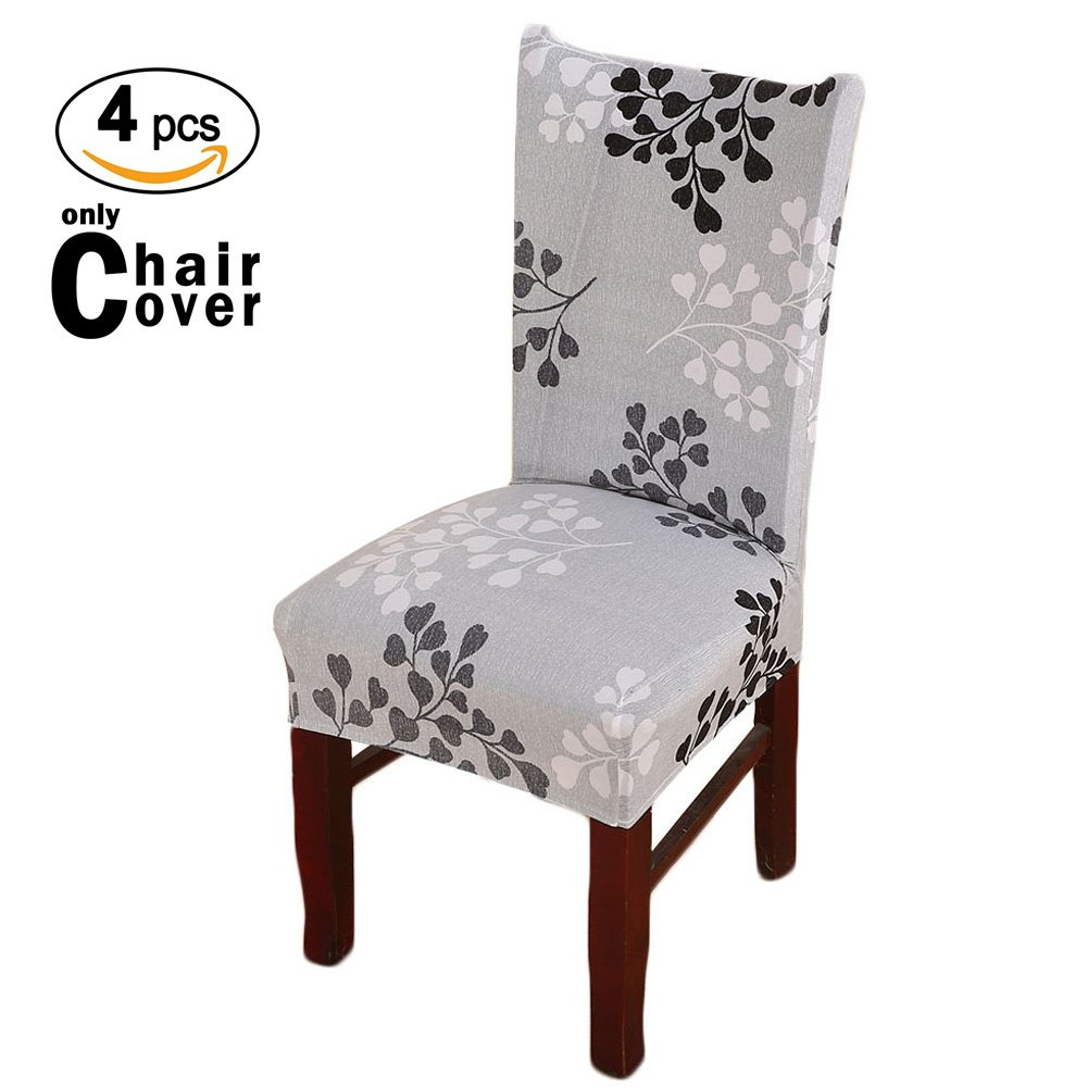iisutas Stretch Short Dining Room Chair Covers with Printed Pattern, Universal Removable Banquet Chair Seat Protector Slipcover (Pack of 4)