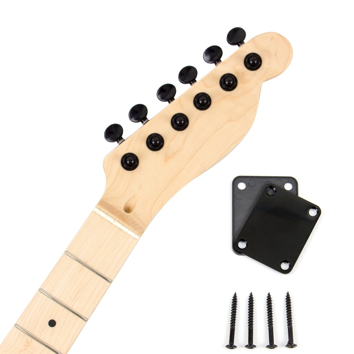 Electric Guitar Neck With Black 6R Inline Sealed Tuning Pegs Neck Plate Maple Wood Neck Machine Heads Parts Replacement