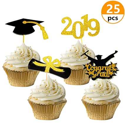 Amazon Com 25 Pcs Jevenis 2019 Graduation Cupcake Toppers Congrats