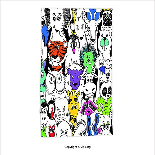 Vipsung Microfiber Ultra Soft Hand Towel-Psychedelic Decor Collection Tropical Wild Safari Zoo Animals Pattern Tiger Giraffe And Owl Kids Room Fun Decorations For Hotel Spa Beach Pool Bath (Java Giraffe)