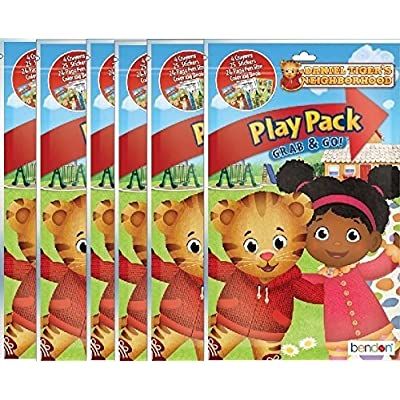 Daniel Tigers Neighborhood Play and Go Super Set Coloring Book with Stickers and Crayons - 6 Pack: Toys & Games