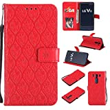 LG V10 Case, Lomogo Leather Wallet Case with Kickstand Card Holder Shockproof Flip Case Cover for LG V10 - LOYYO23394 Red