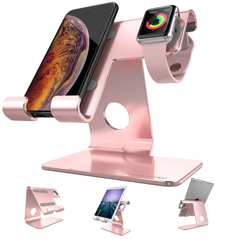 Cell Phone Stand Tablet Stand , ZVEproof iWatch iPhone Apple Watch Charging Station Stand Dock Cradle Holder for Mobile Phone (All Size) and Tablet (Up to 10.1 inch), Rose Gold by ZVEproof