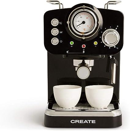 Oferta amazon: IKOHS THERA Retro - Cafetera Express para Espresso y Cappucino, 1100W, 15 Bares, Vaporizador Orientable, Capacidad 1.25l, Café Molido y Monodosis, con Doble Salida (Negro)