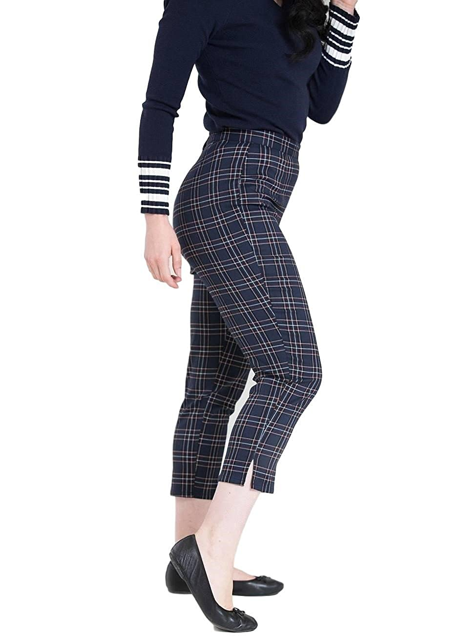 1950s Pants & Jeans- High Waist, Wide Leg, Capri, Pedal Pushers Hell Bunny Peebles 50s Cigarette Capri Cropped Trousers Retro Vintage Tartan $39.99 AT vintagedancer.com