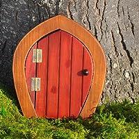 Miniature Fairy Garden Wooden Gnome Door, Red