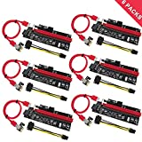 PCIe Riser, N.ORANIE 6-Pack PCI Extender Cable 16X to 1X Powered Riser Adapter Card w/ 60cm USB 3.0 Extension Cable ,4 Solid Capacitors,3 Power Options-Ethereum Mining Bitcoin Litecoin Dedicated