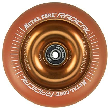 Metal Core Rueda Radical Monocromática para Scooter Freestyle, Diámetro 100 mm (Naranja)
