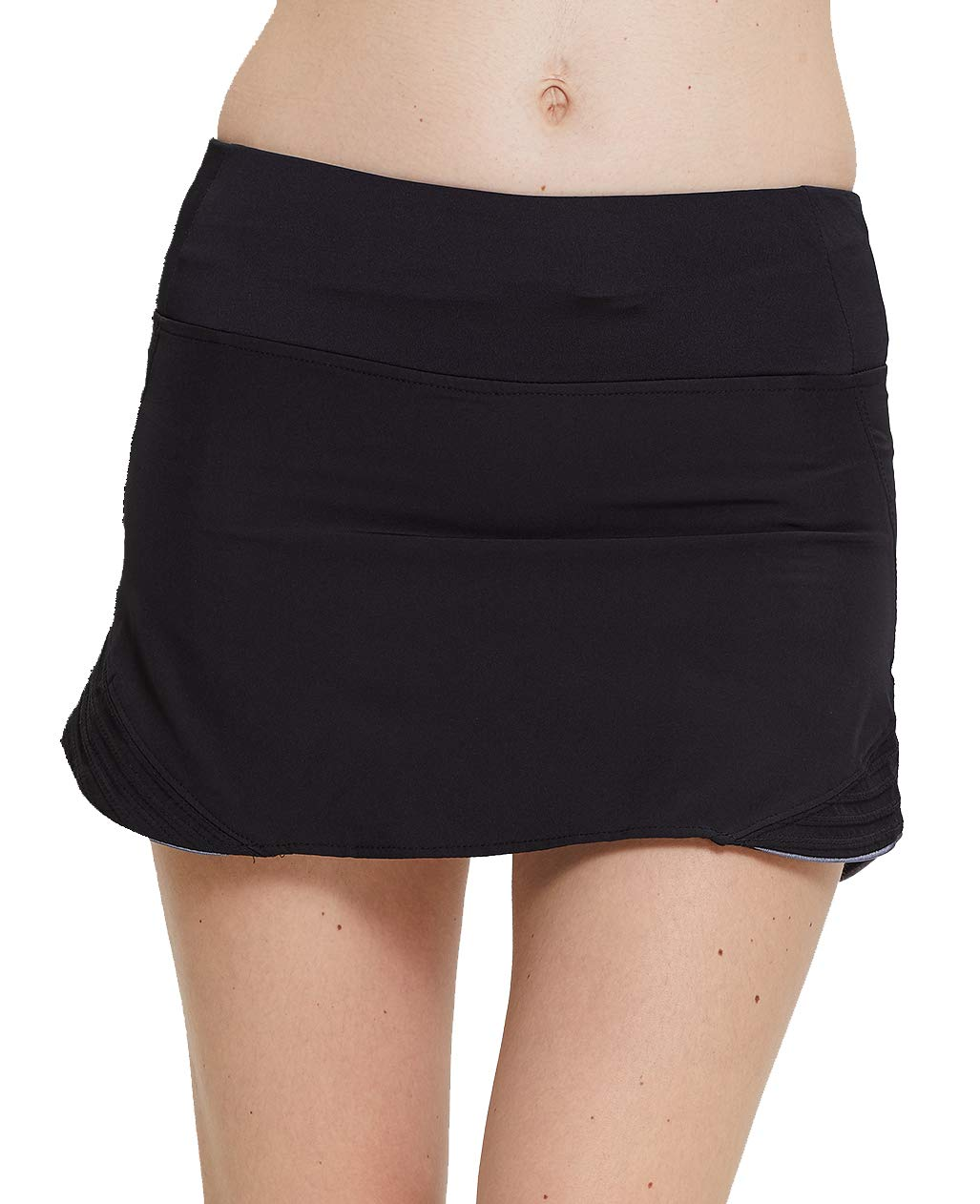 UDIY Women's Workout Active Skorts Sports Tennis Golf Skirt Built-in Shorts Lightweight Gym Stretchy Skorts for Girls, Black