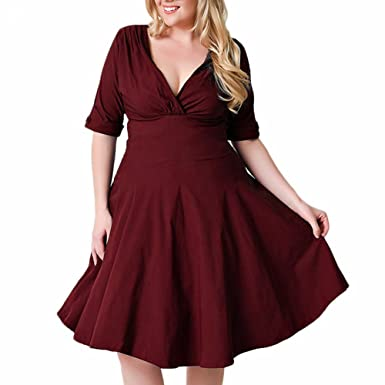 Romacci Women Vintage Plus Size Dress V Neck Half Sleeve 1950s Ruched  Elegant Party A-Line Midi Swing Dress at Amazon Women s Clothing store  6eb0d0e157cd